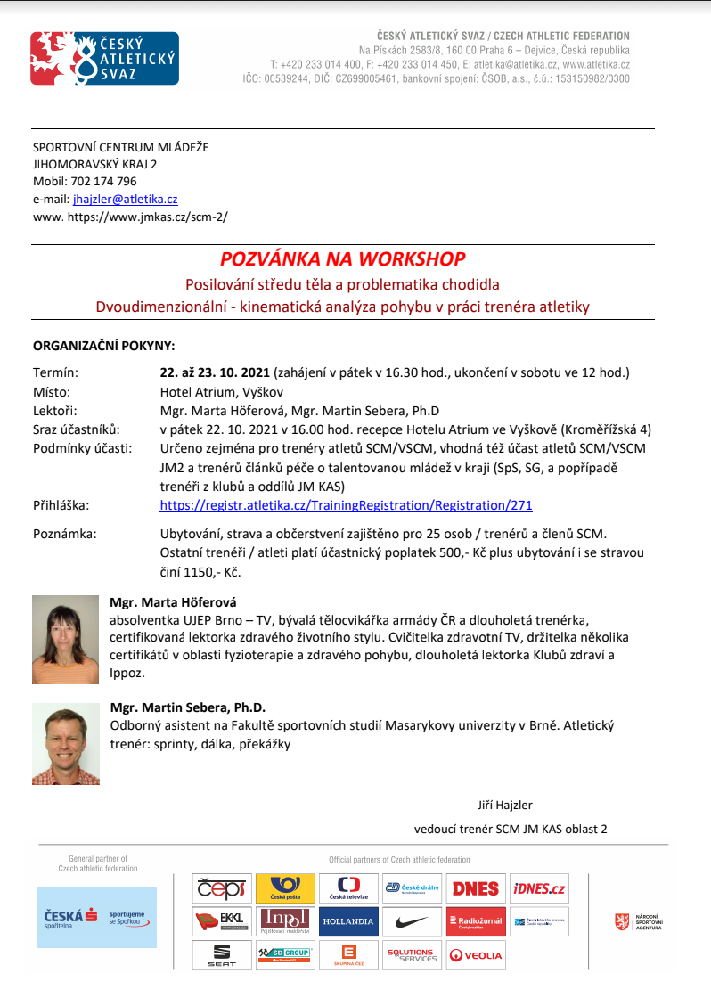 Pozvánka na Workshop SCM